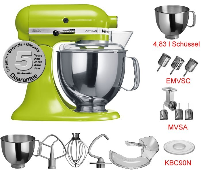 kitchenaid 5ksm150ps artisan gr n set 4 neu ovp ebay. Black Bedroom Furniture Sets. Home Design Ideas